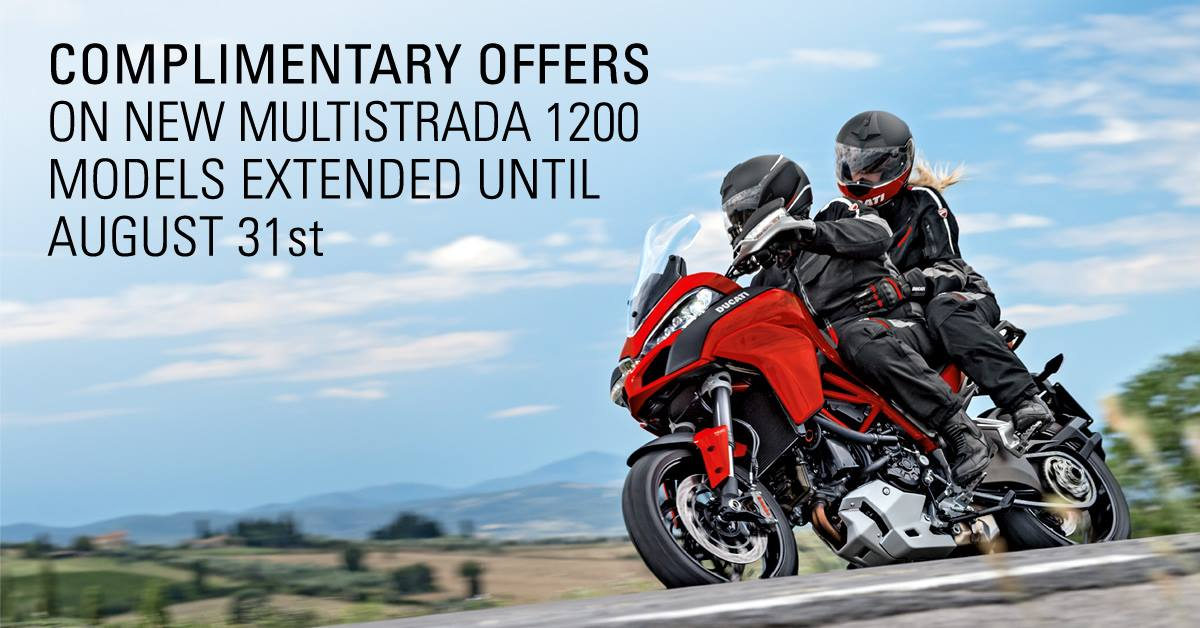 Multistrada 1200 now with a £1,000 Ducati Performance Voucher to spend on Ducati accessories, clothing or to put towards your deposit - https://goo.gl/PMXSq1